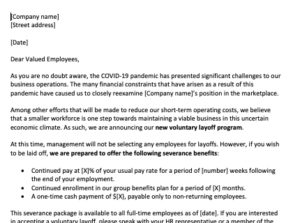 Voluntary Layoff Letter Due To Coronavirus 420X320 20200323