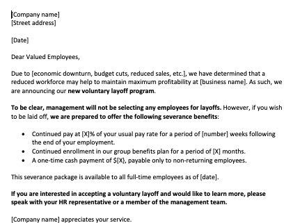 Voluntary Layoff Letter Template 420X320 20200324