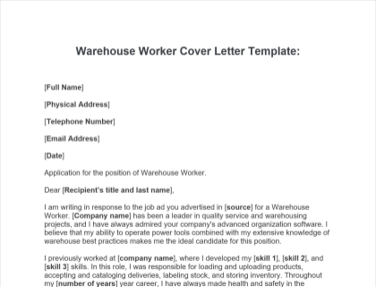 Warehouse Worker Cover Letter Free Template