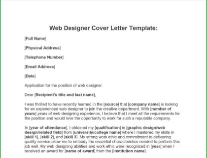 Web Designer Cover Letter Free Template