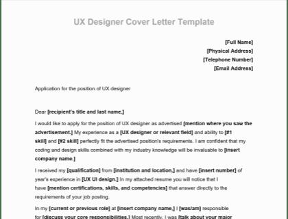 Ux Designer Cover Letter