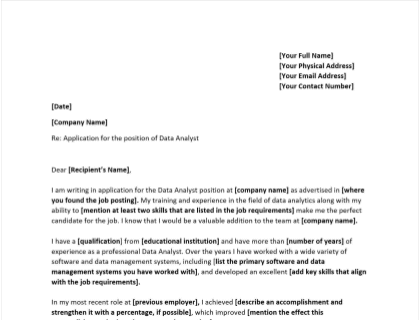 Data Analyst Cover Letter Template