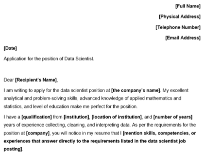 Data Scientist Cover Letter Template