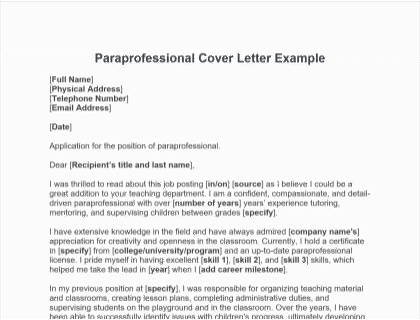 Paraprofessional Cover Letter