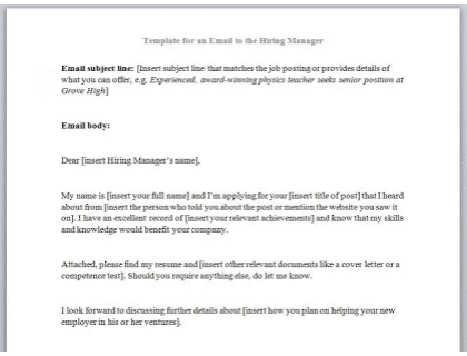 How To Write An Email The Hiring Manager